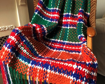 Crochet & Weave Pattern Jacobite Tartan Throw