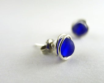 Sea glass stud earrings sterling silver earrings post earrings cobalt blue sea glass jewelry bridesmaids gifts jewelry seaglass wire wrapped