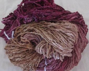 Handpainted Soft Rayon Chenille Yarn  VANILLA ROSE - 185 yards