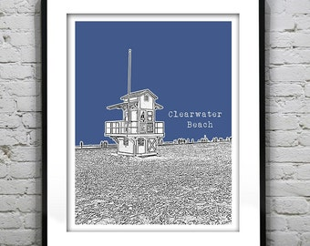 20% OFF Memorial Day Sale - Clearwater Beach Skyline Poster Art Print Florida FL Lifeguard Station Version 3