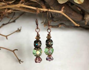 Pale Green Czech Glass Dangle Earrings