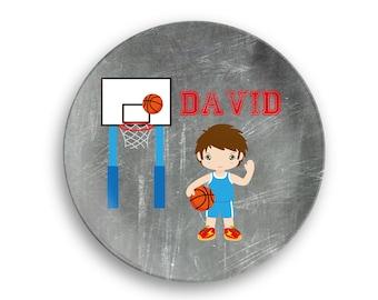 Basketball Personalized Plate  – Basketball Boy Jersey Net Ball, 10 inch ThermoSaf® Polymer Plate, Kids Personalized 8.5 inch Bowl