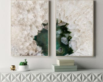 Set of 2 Agate Prints - Prints (Print #078 & 079) - Fine Art Print - Two Paper Choices- Mineral Geode Agate Crystal Decor