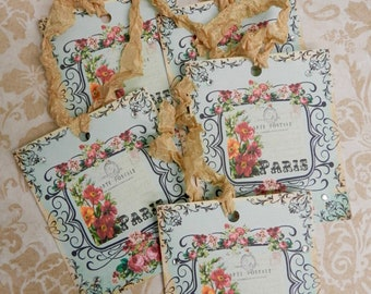 Paris Gift Tags French Gift Tags Seam Binding Ribbon Tags French Inspired Carte Postale