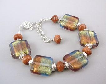 Rainbow Bracelet, Rainbow Jewelry, Goldstone Jewelry, Goldstone Bracelet, Glass Bead Bracelet, Adjustable Bracelet, One of a Kind Bracelet