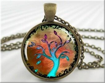 Tree Of Life Pendant, Turquoise Jewelry Necklace, Tree Art Pendant Charm, Round Bronze, Resin Pendant, Tree Of Life Jewelry 327RB
