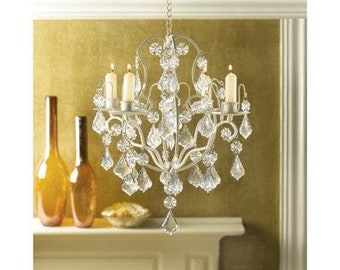 ivory baroque elegant crystals candle chandelier iron acrylic - Candle Chandelier