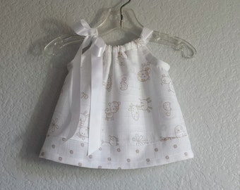Baby Girls Safari Animals Dress - Baby Girl Dress and Bloomers Outfit - White with Taupe and Caramel - Infant Layette  - Sizes Nb, 3m or 6m