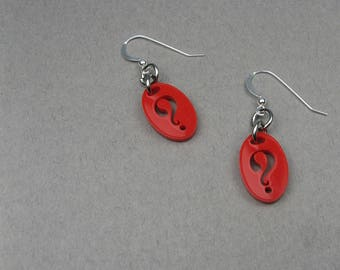 Question Mark Earrings - Red Punctuation Mark Jewelry for Writer, Author, English Teacher - Acrylic Earrings