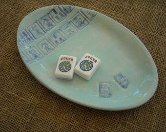Mahjong Plate - Mahjong Pottery - Oriental Plate - Mahjong Dish - Oriental Pottery - Handmade Pottery - Oriental Dish -  - Mahjong Ceramics