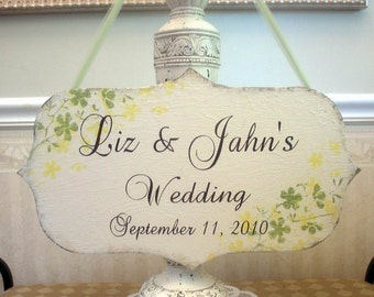 PERSONALIZED custom wedding sign, rustic hand painted bridal sign, two accent colors, floral wedding sign, reception sign, wedding planner