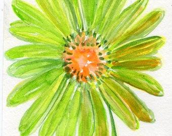 Lime Green Gerbera Daisies painting, Original Watercolor Gerber Daisy ART 4 x 6