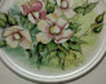 Square/Round Designer Plate with Hand painted Wild Roses