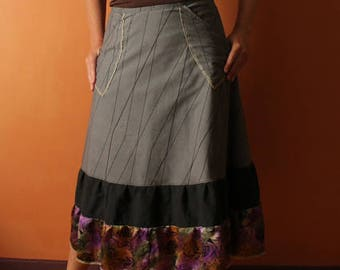 Long Wrap Skirt (one size fits most small - large) gray, black, purple, pockets
