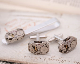 Steampunk Cufflinks and Tie clip set Watch Movement Tie Bar with Cufflinks Holiday Gifts for Men Gift for Partner Mens Accessories