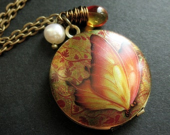 Flaming Butterfly Locket Necklace. Butterfly Necklace with Fiery Teardrop and Fresh Water Pearl. Handmade Jewelry.