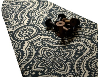 PADDED Ironing Board Cover with ELASTIC around edges made with HEAVYWEIGHT dark gray and cream detailed damask fabric pick your size