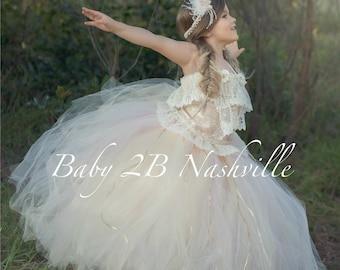 Vintage Dress Flower Girl Dress Lace  Dress Wedding Dress Tulle Dress Blush Dress Birthday Dress Party Dress Toddler Tutu Dress Girls Dress