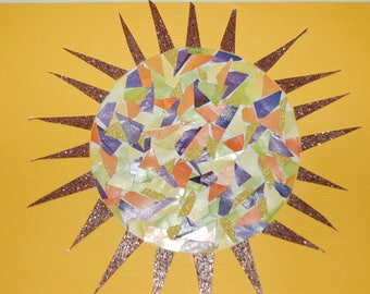 SUN with Mosiac pattern/Greeting Card/Birthday/Thinking of you/Encouragement/Blank/