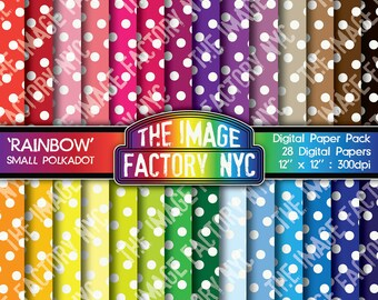 Rainbow Colors Small Polkadots Digital Mega Paper Pack Collection (TIFNYC-RNPP-4) for all paper crafts-Download & Print