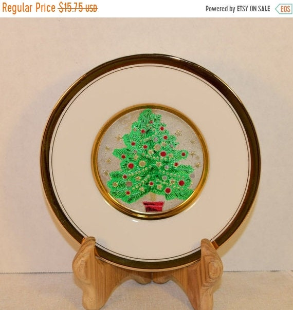 Delayed Shipping Chokin Christmas Tree Plate 24K Gold Vintage The Art of Chokin Decor Plate Christmas Decoration Christmas Collectible Holid