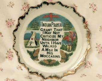 Vintage Indian Prayer Wall Plate