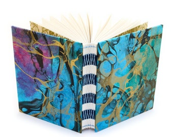 Marbled Journal gold/blue/magenta/green - French Link - 144 unlined pages - Handmade by Ruth Bleakley - each book has unique cover pattern