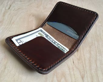Horween Chromexcel Brown Cash and Card Wallet, minimalist