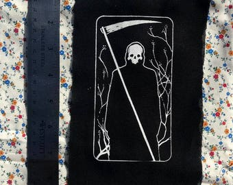 DEATH tarot card looking image PATCH ooh so stark and creepy and very Bergman esque