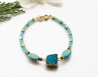Blue Druzy bracelet Raw stone jewelry Crystal Quartz Bracelet Raw Stone Bracelet for women gift graduation gift