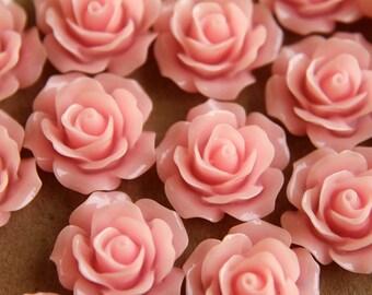 CLOSEOUT - 20 pc. Baby Pink Crisp Petal Rose Cabochons 18mm | RES-007