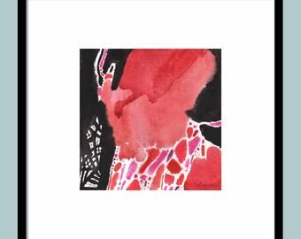 ORIGINAL ABSTRACT WATERCOLOR 8X8 small watercolor painting, watercolor painting original, decorative art, orginal watercolour painting