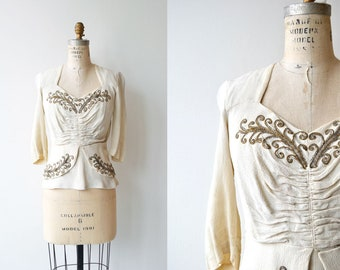 Saints-Pères blouse | vintage 1930s blouse | beaded 30s rayon blouse