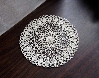 Country Chic Crochet Lace Doily, Ecru Table Decor, 9 Inch Doily, Spring Decorating, Elegant Home Decor