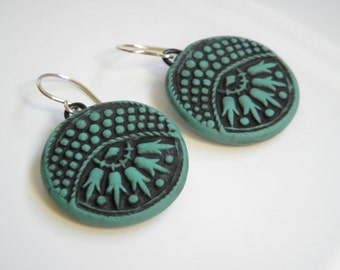Vintage Button Design Beeswax Clay Earrings- dangle disk earrings-eco earrings-turqouise/green and black