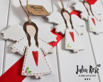 Sweet Hand Painted Hanging Christmas Angels Personalised For Home