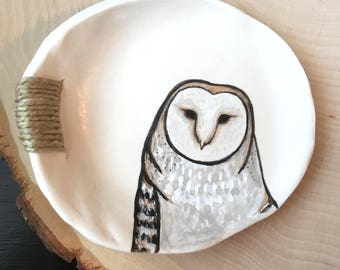 Jewelry Dish, Owl Ring Dish, Barn Owl, Gift for Mom, Gift for Her, Owl Lover Gift, Polymer Clay Ring Dish, Gift for Women, Ring Dish