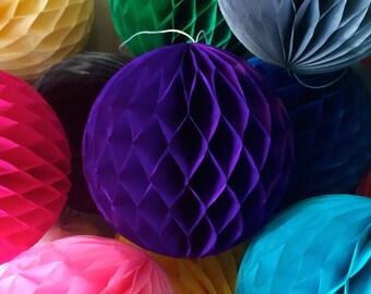Purple 10 Inch Honeycomb Tissue Paper Balls - Paper Party Decor Decoration Supplies