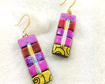 Dichroic fused glass earrings, dichroic jewelry, glass earrings, rainbow earrings, pink jewelry, trending now, fused glass, dichroic glass