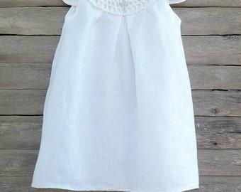 Christening white organic dress, Baptism dress, Bright white Baptism dress Knit Baby girl Dress  Baptism accessories