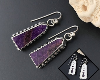 Purple Dangle Earrings, Ultra Violet Sugilite Stone and Unique Sterling Silver Artisan Obelisk Shape, Circle Design on Edges and Reverse