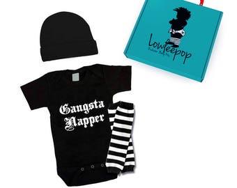 ROCKSTAR BABY KIT Gangsta Napper onesie, hat, leg warmers & optional gift box