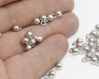 Silver Brass Mini Ball Charms, Pewter, Ball Charms, Ball Pendant, Mini Round Ball Charms, Silver Ball Pendant , FRY64