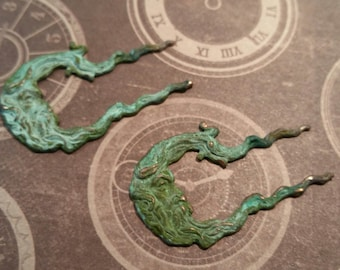 Verdigris brass moon in wind flourish charms 2 pc