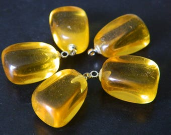 "5 Piece Set Goldenrod Yellow Glass Nugget Pendants - Yellow ""Tumbled Nuggets"" Glass Pendant Set"