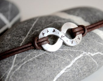 Personalized XL Infinity Bracelet - Big charm and leather with personalised stamping on aluminium - Mens and Unisex - leather anniversary