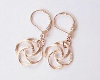 Handmade Rose Gold Earrings Rose Gold Dangle Earrings Rose Gold Knot Earrings
