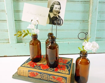 Labware Amber Bottle Bud Vases and Photo Holders Set of Four