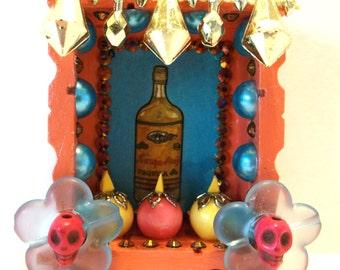 Mexican Loteria, Tequila Nicho, La Botella Loteria, Day of the Dead, Mexican Ornament, Wood Nicho, Mexican Folk Art, Loteria Decoration