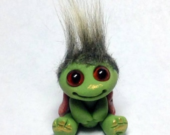 "OOAK Tiny Turtle Goblin Trollfling Troll ""Elmer"" by Amber Matthies"